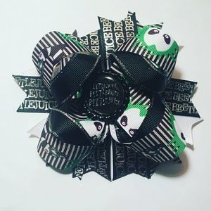 Beetlejuice stacked hair bow